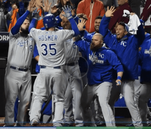 Jonny Gomes Kansas City Royals Celebrates Series Win