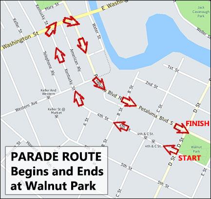 Petaluma Veterans Day Parade Route