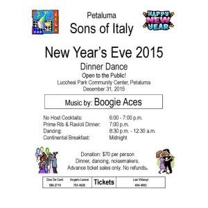 petaluma sons italy new years eve dinner dance