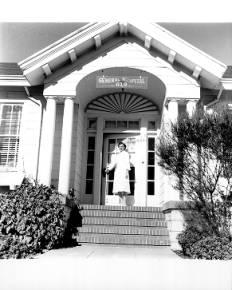 Nurse at doorway of Petaluma General Hospital