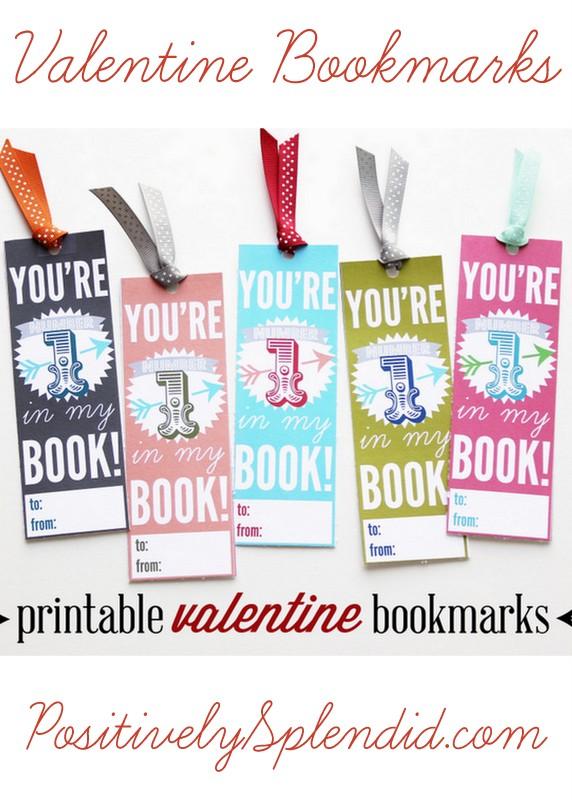 Printable Valentine Bookmarks at PositivelySplendid.com - A great alternative to candy!