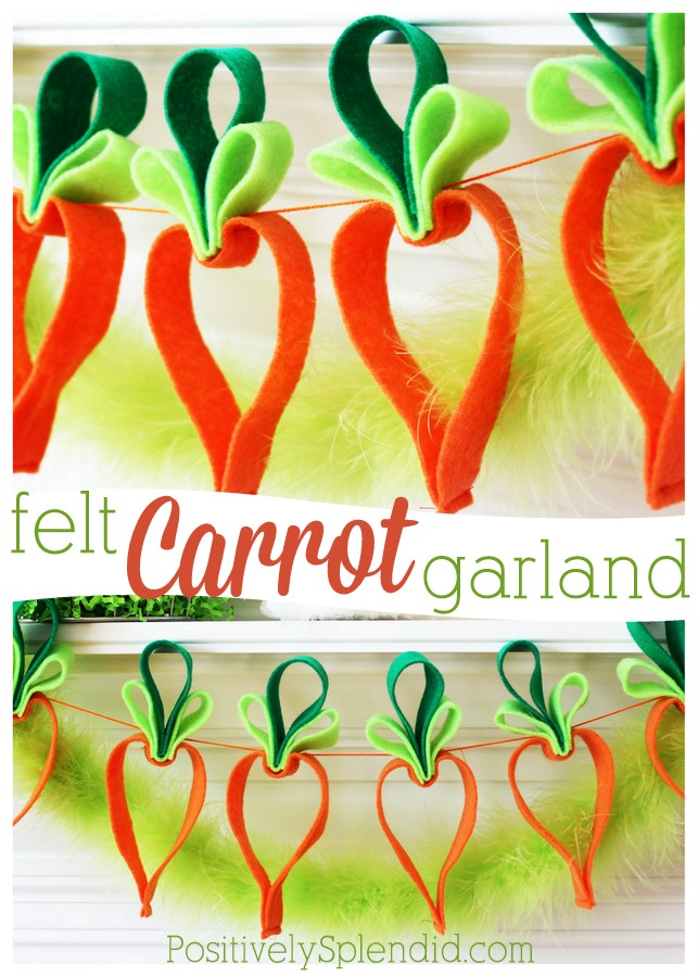 Easy felt carrot garland. This is one of the cutest Easter crafts ever!