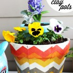 Fabric-Decoupaged Clay Pots