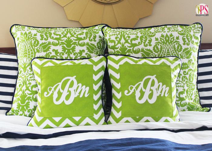 monogram pillow covers with marine vinyl