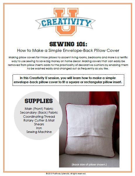 Creativity U Envelope Back Pillow Cover