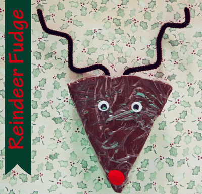Delicious fudge recipe, and a super fun way to package it up like reindeer! Fun for kids.