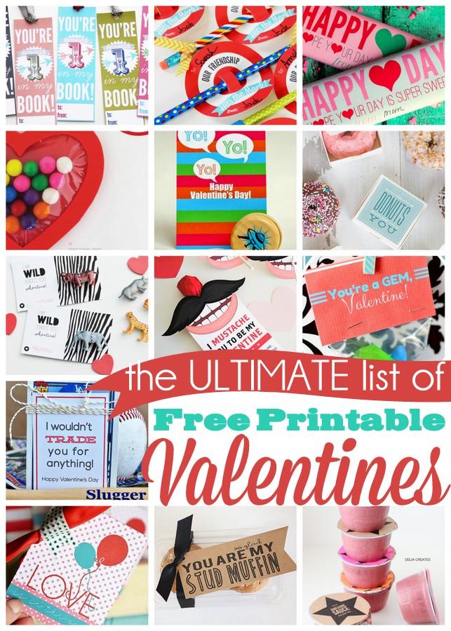 The ULTIMATE list of free printable valentines. 25 creative ideas!
