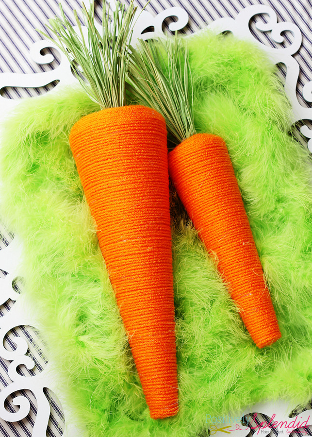 Decorative carrots made with yarn and Styrofoam cones. Simply adorable!