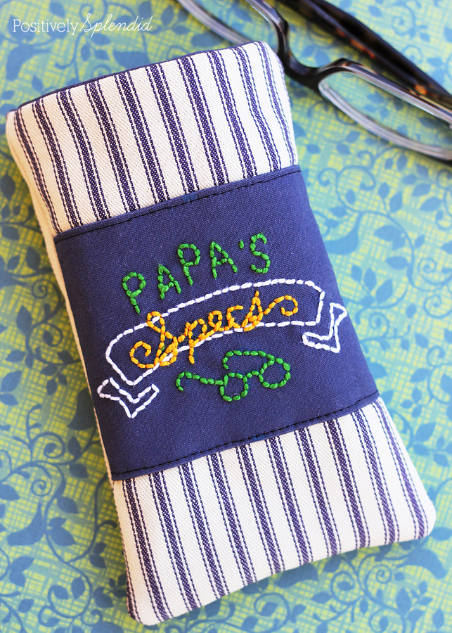 Love this cute men's eyeglass case. Free sewing tutorial!