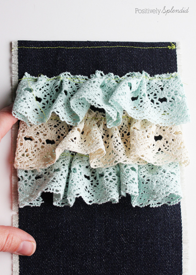Denim and Lace Ruffled Pouch Tutorial from Positively Splendid #MichaelsMakers