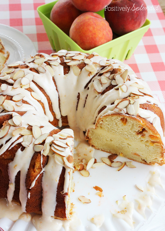 Fresh Peaches and Cream Cake. Moist cake filled with chopped fresh peaches and a ribbon of cream cheese filling, and topped off with peach-cream cheese frosting. Delicious!