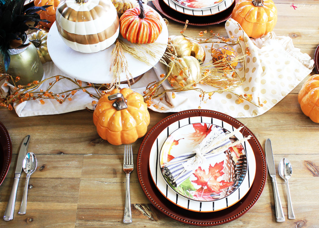 This coloThis colorful fall tablescape would be perfect for holiday entertaining! #bhglivebetterrful fall tables cape would be perfect for holiday entertaining! #bhglivebetter