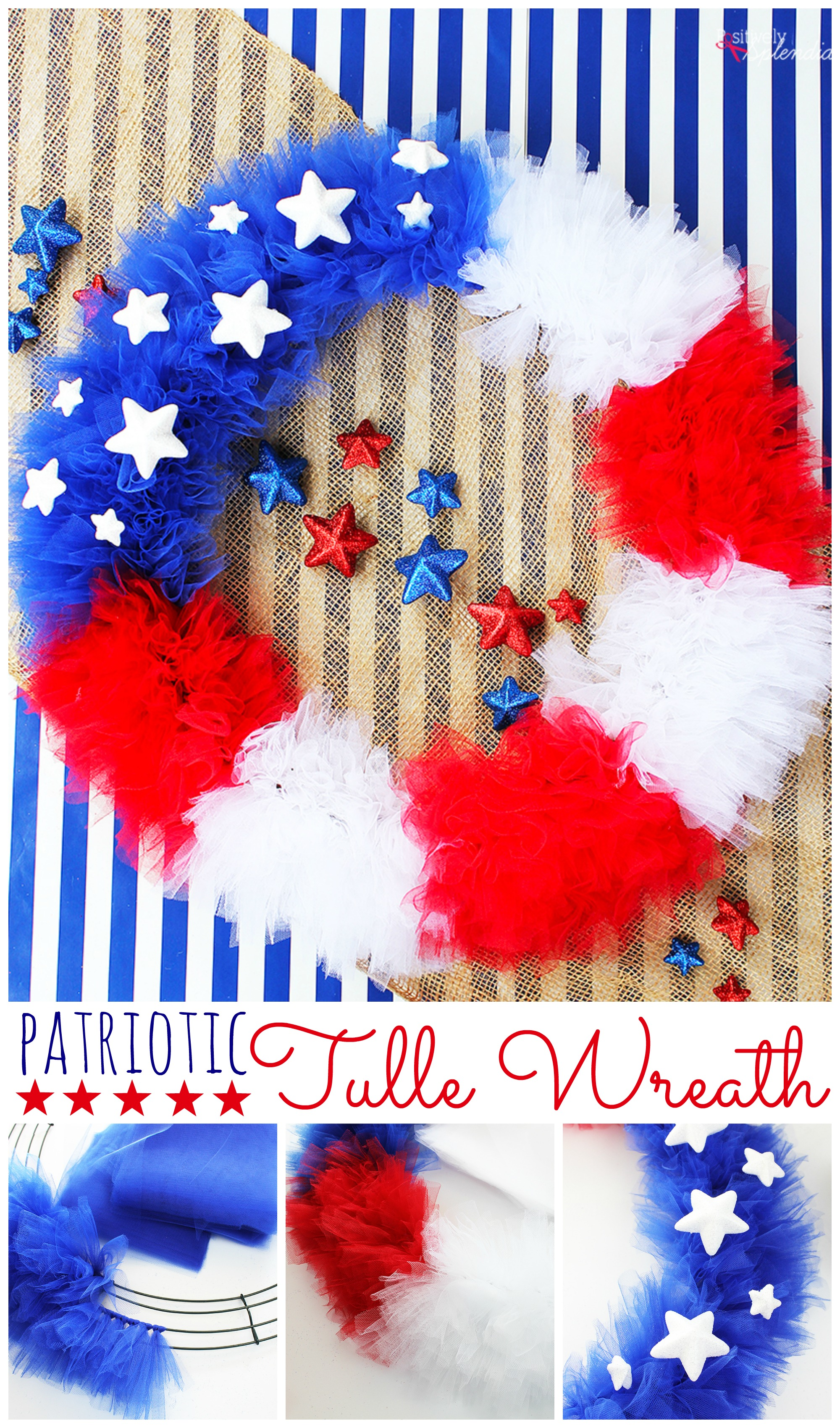 Patriotic Tulle Wreath Craft Tutorial