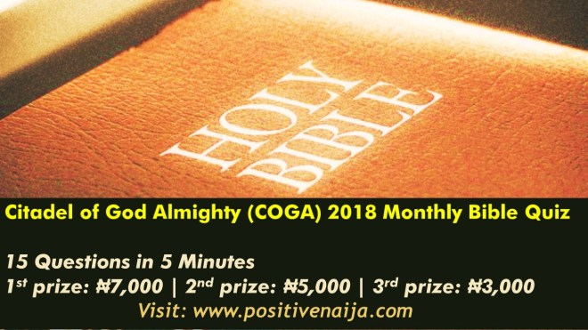 2018 COGA Cathedral Monthly Bible Quiz