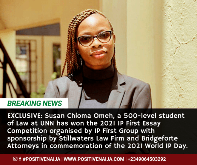 Susan Chioma Omeh Wins 2021 IP First Essay Competition