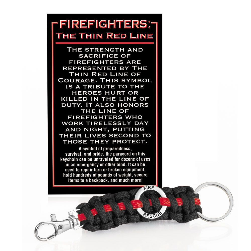 Firefighters The Thin Red Line Paracord Key Chain With