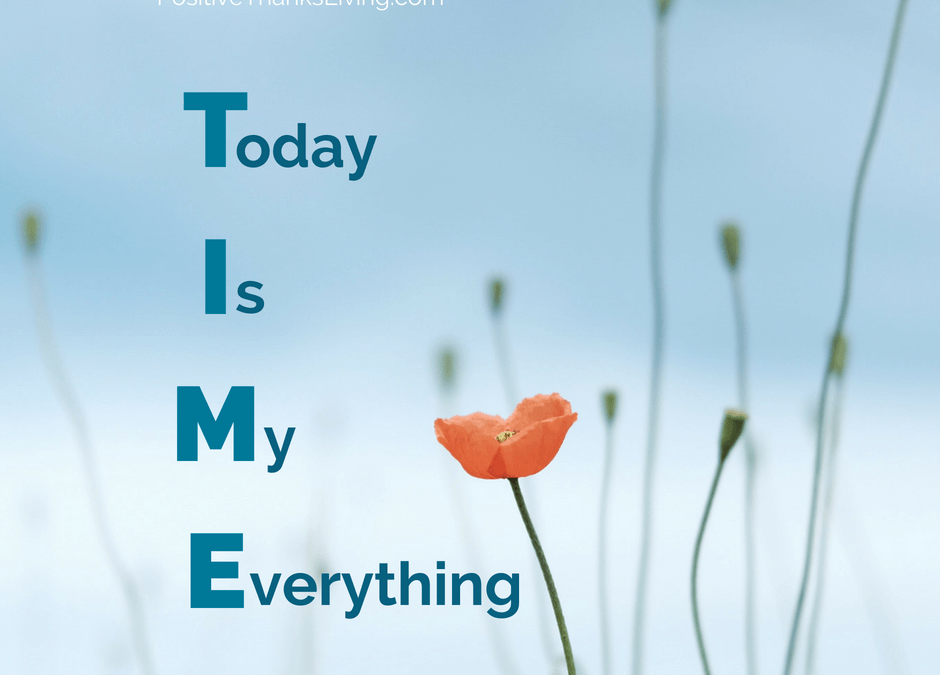 Use your TIME wisely - think of TIME as Today Is My Everything