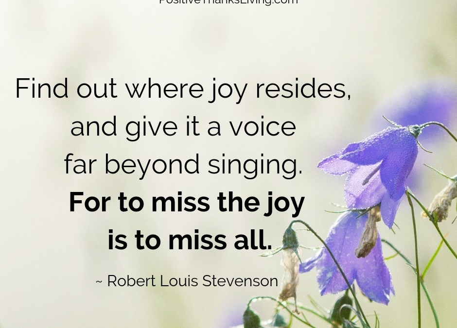 To miss the joy is to miss all - in what way are you capturing the joy in your life - PositiveThanksLiving.com