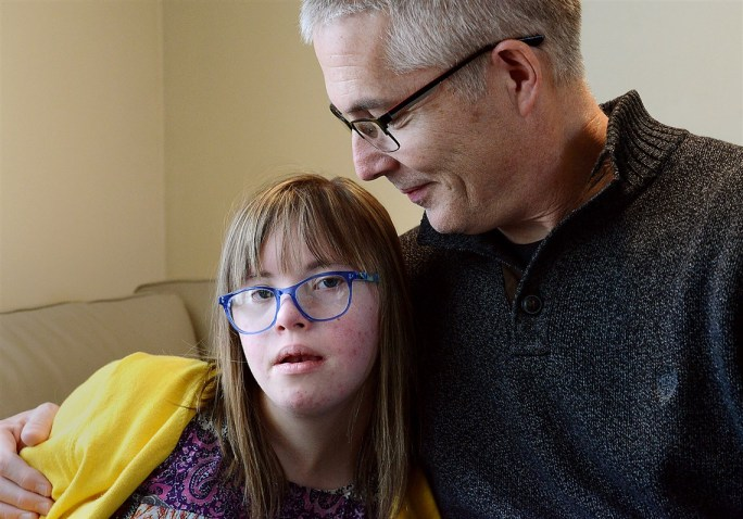 Chloe Kondrich, then 13, with her father Kurt, in 2017, at their home in Upper St. Clair.