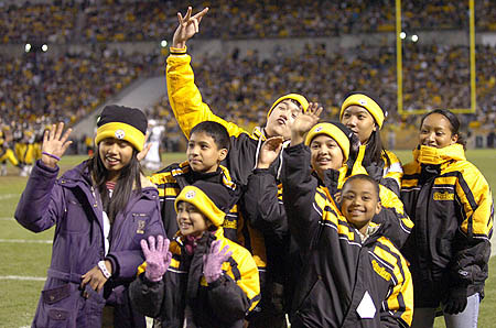 Korean Children at a Steelers Game