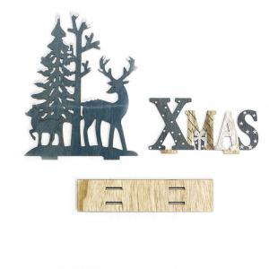 Drevenná vianočná dekorácia X-mas s jeleňom 6