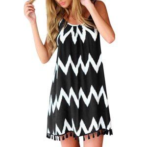 Letné dámske šaty bez rukávov, vlnkové vzory, strapce, špagetové remienky 5