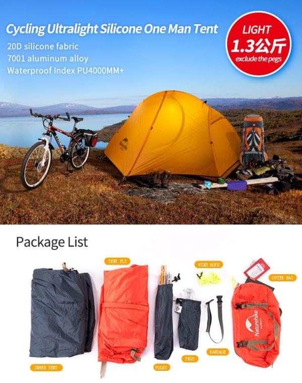 Cyklistický kempingový stan pre 1 osobu Naturehike Ultralight 20D/210T NH18A095-D 12