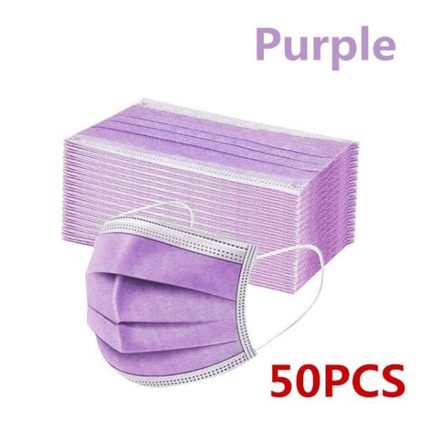 Jednorazová jednofarebná 3-vrstvová netkaná maska, rúško, 50ks (viac farieb) 9