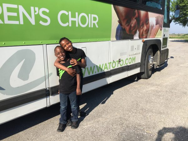 Sam and Ronald just before they loaded the bus to travel to their next concert venue.