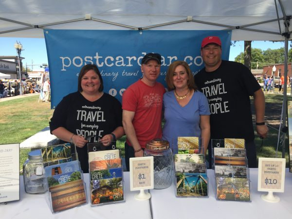 We were humbled that one of our readers drove down to the Pumpkin Festival to meet us and check out our Crete postcards!