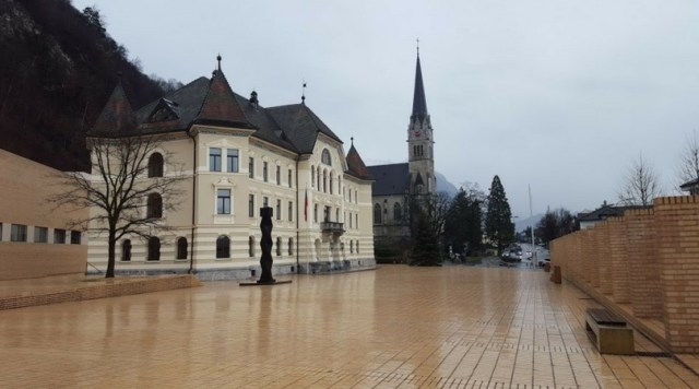 Part of the Vaduz town square which has a rather fairy tale quality. Liechtenstein. [Photo: Nicole Lamberson]