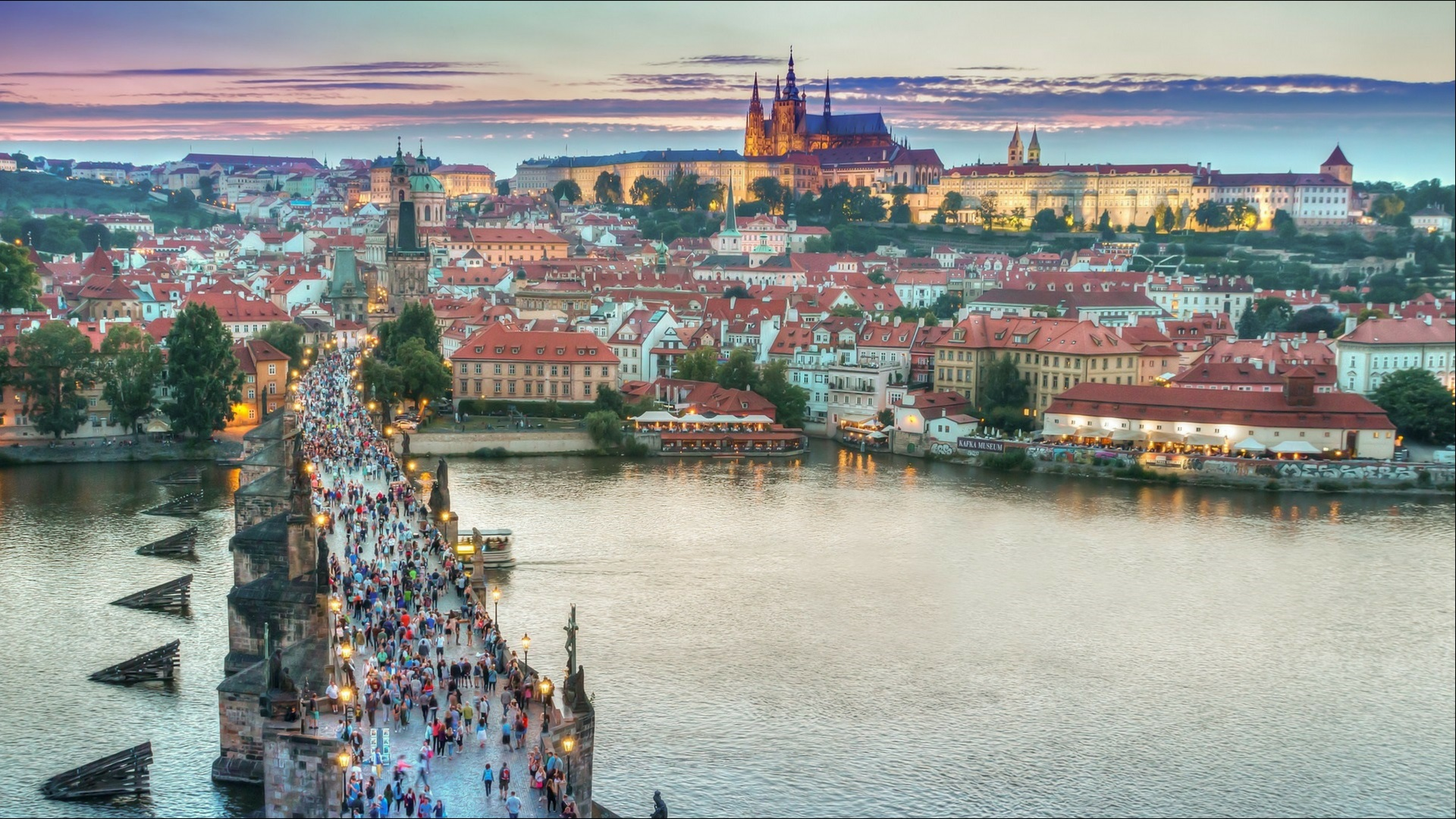 Prague Bridge and Skyline