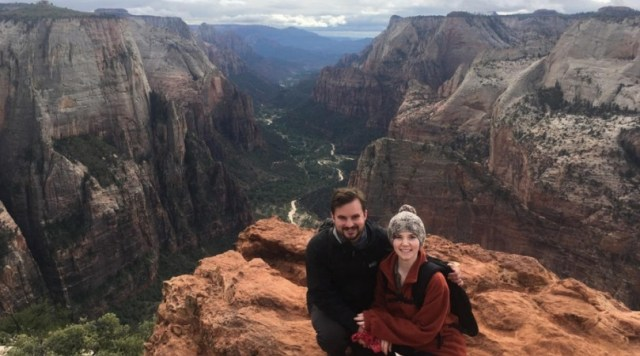Jax, with her husband Luke, at the summit of Observation Point in Zion National Park - Utah