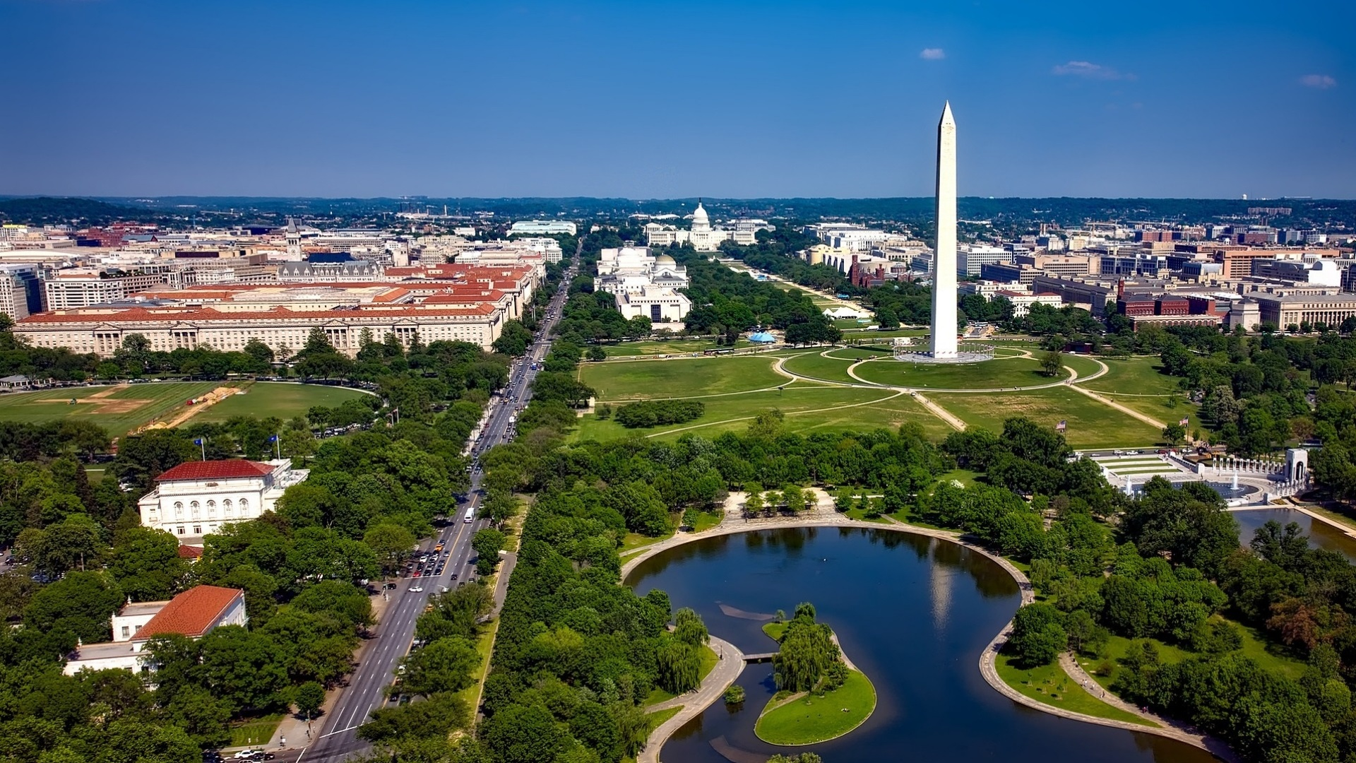 Aerial view of the National Mall in Washington, DC