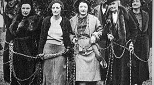Women chained themselves around the cherry trees to stop the construction of the Jefferson Memorial