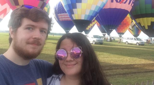 Samantha with her boyfriend at the Battle Creek 'Field of Flight' balloon launch.