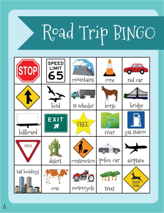 Road Trip BINGO (A-E) Activity Page