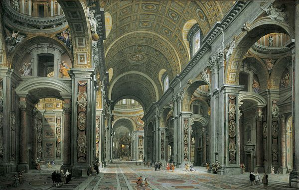 Giovanni Paolo Panini's detailed painting of St. Peter's Basilica, photo courtesy of Wikipedia