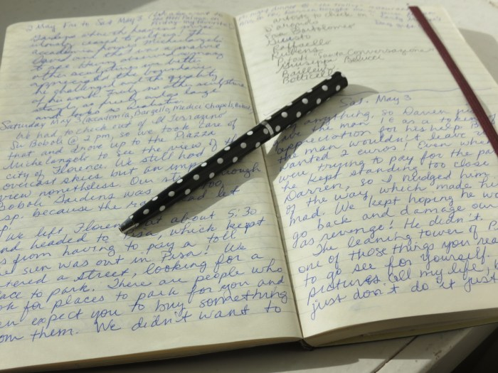 Get up early to catch up writing notes in a travel journal