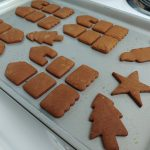 cookie sheet with gingerbread