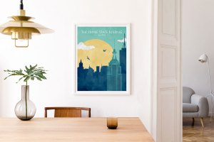 Empire State Building travel poster