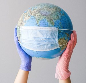globe with face mask