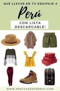 Qué ropa llevar a Perú con lista de viaje para descargar