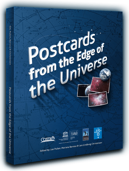 "Capa do livro ""Postcards from the Edge do Universe"" referido nos ""Exemplos"""
