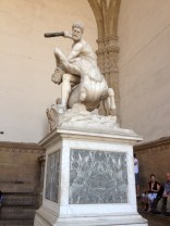 Hercules beating the Centaur - carved from a solid block of marble