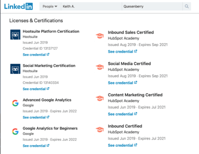 Free Online Social Media and Digital Marketing Courses and Certifications are easily displayed in your LinkedIn profile.