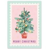 Kerstkaart Postzegel Boom van LittleLeftyLou