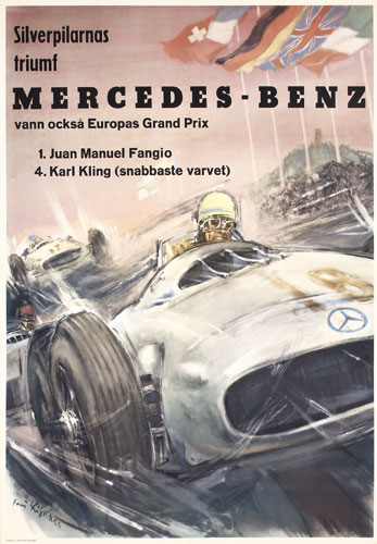 Mercedes benz vintage poster spotlight for Mercedes benz history name