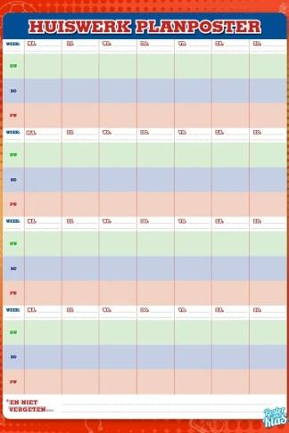 Huiswerk plannen doe je met de Huiswerk Planposter van Poster in de klas