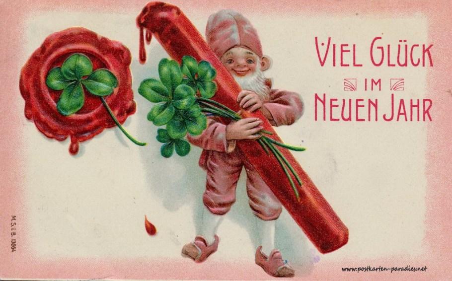 Neujahrskarte Glüück Heinzelmann Kleeblatt
